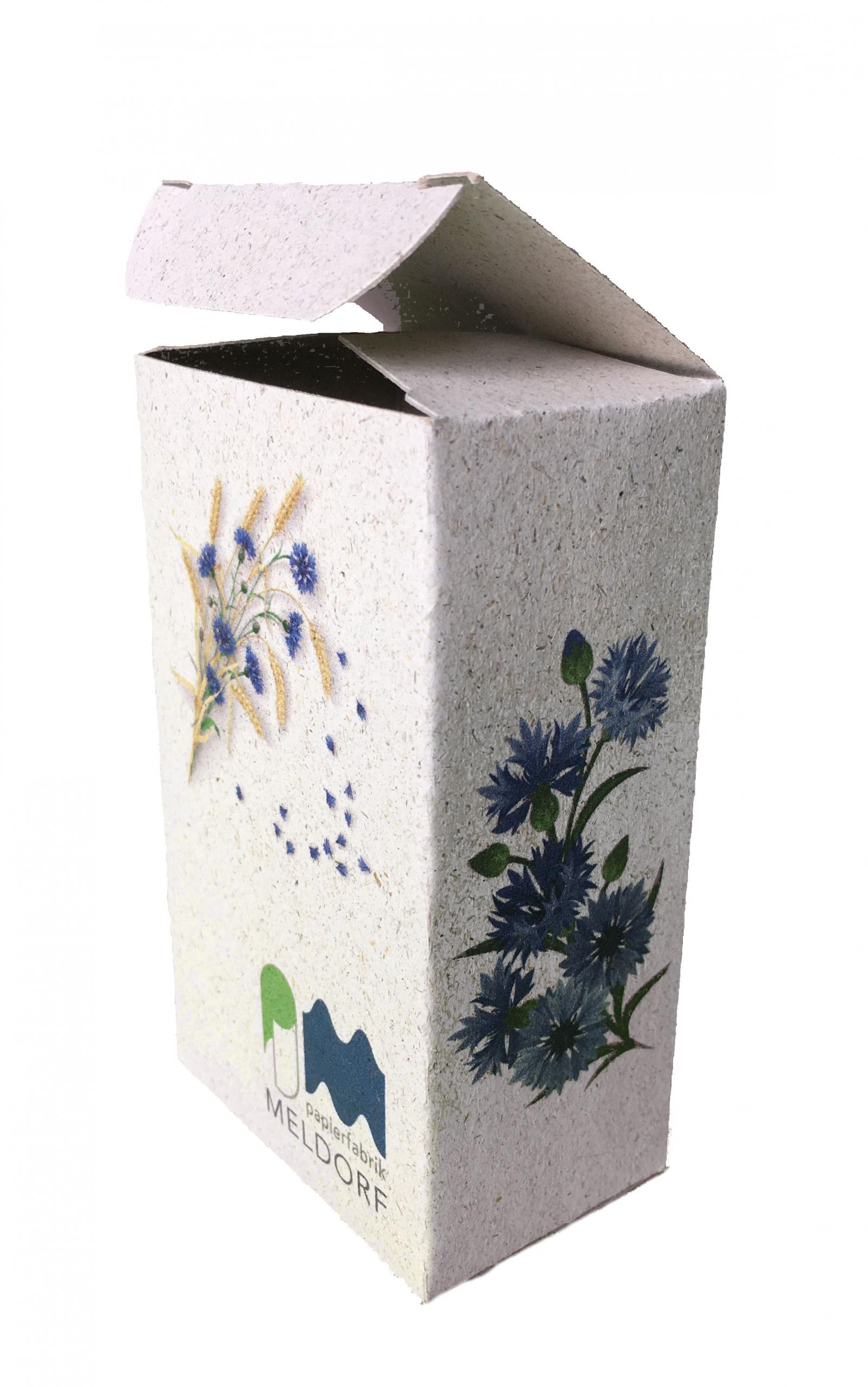 box with cornflower printing
