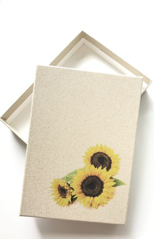 box with sunflower printing
